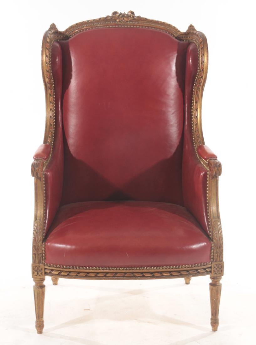 PAINTED CARVED GILTWOOD WING BACK CHAIR 1900 - 2