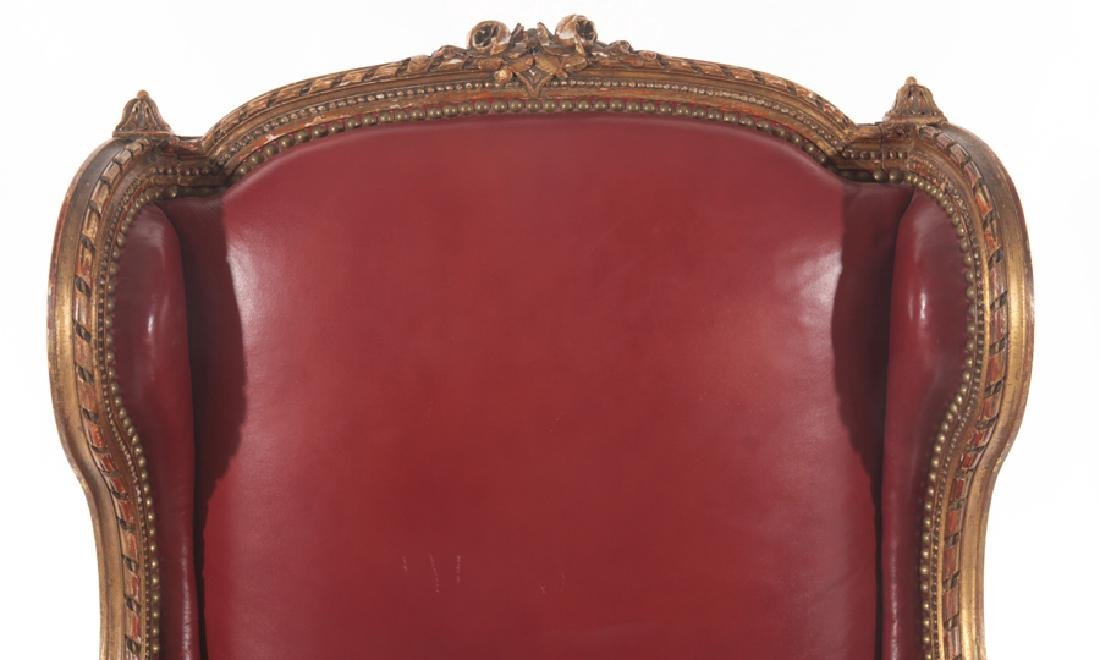 PAINTED CARVED GILTWOOD WING BACK CHAIR 1900 - 3