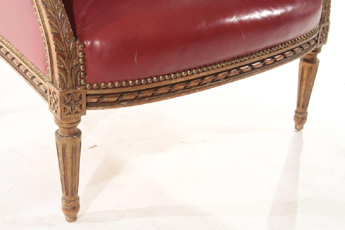 PAINTED CARVED GILTWOOD WING BACK CHAIR 1900 - 5