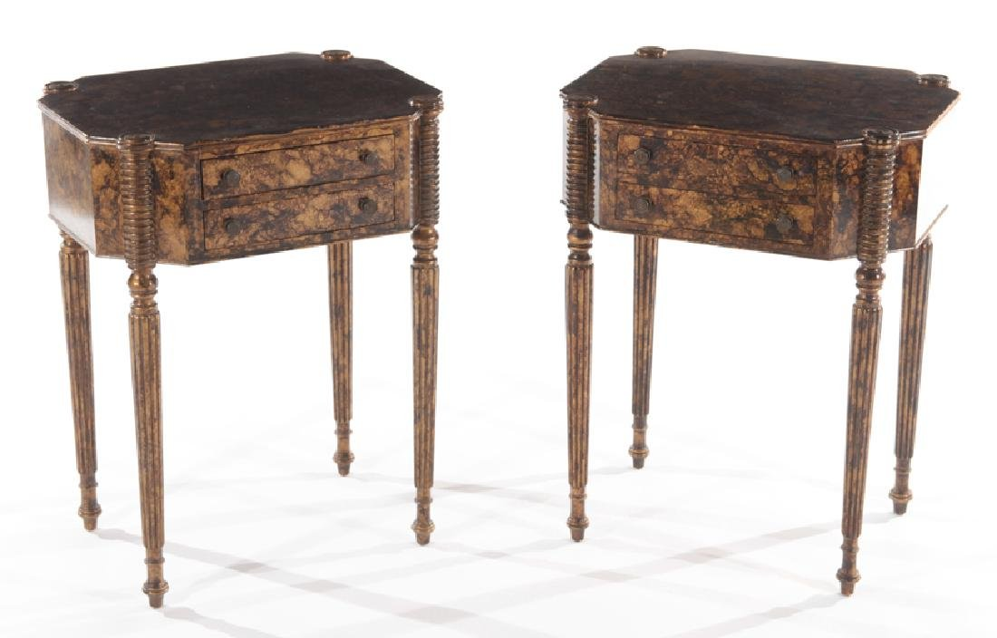 PAIR OF SHERATON STYLE 2 DRAWER STANDS C.1930