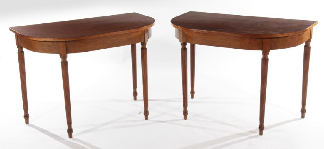 PAIR OF 19TH CENT. MAHOGANY D-FORM CONSOLE TABLES