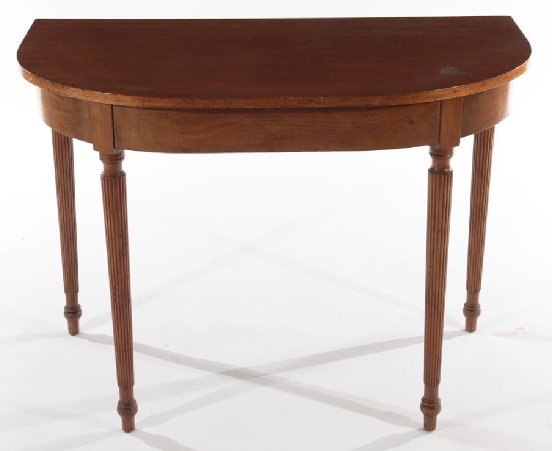 PAIR OF 19TH CENT. MAHOGANY D-FORM CONSOLE TABLES - 2