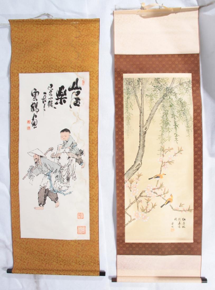 PAIR JAPANESE SILK SCROLL PAINTINGS CIRCA 1900