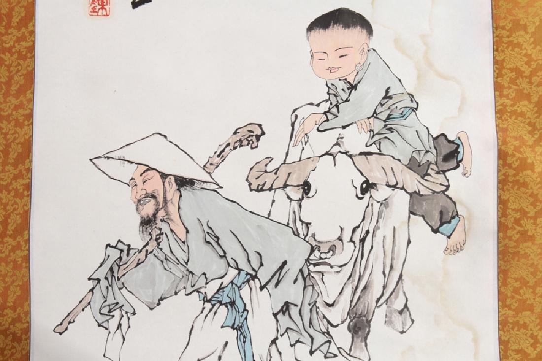 PAIR JAPANESE SILK SCROLL PAINTINGS CIRCA 1900 - 3
