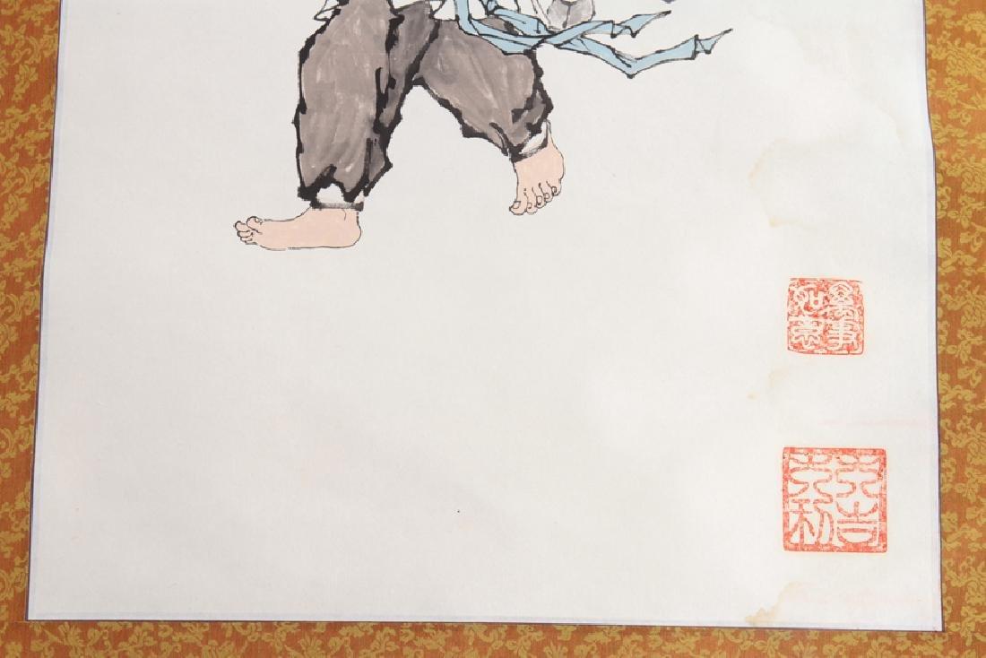 PAIR JAPANESE SILK SCROLL PAINTINGS CIRCA 1900 - 4