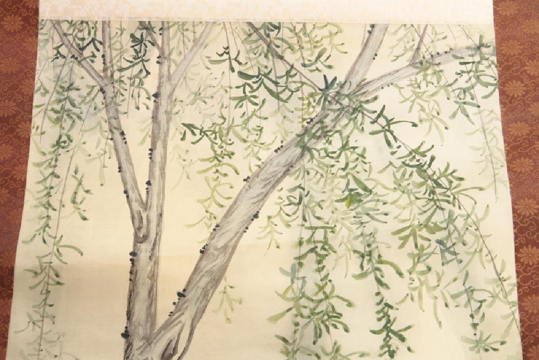 PAIR JAPANESE SILK SCROLL PAINTINGS CIRCA 1900 - 5
