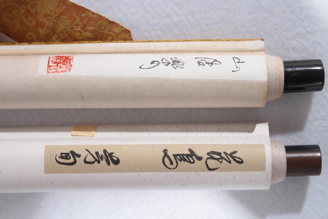 PAIR JAPANESE SILK SCROLL PAINTINGS CIRCA 1900 - 7
