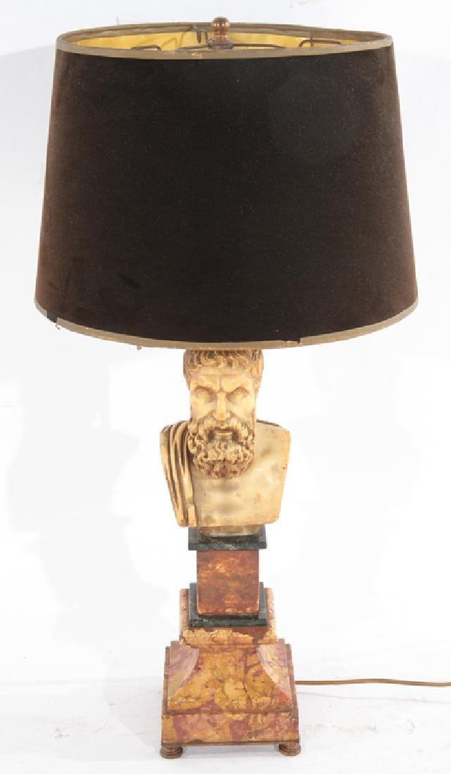THREE COLOR MARBLE BUST TABLE LAMP CIRCA 1940