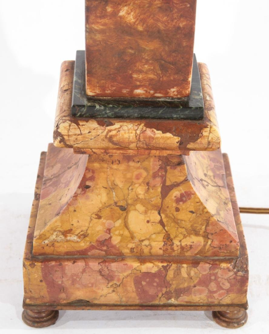 THREE COLOR MARBLE BUST TABLE LAMP CIRCA 1940 - 4