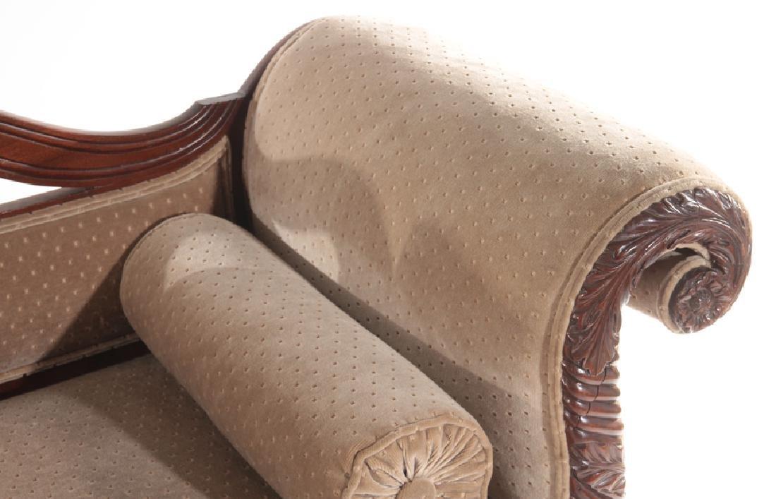 19TH CENTURY CARVED MAHOGANY SOFA ACANTHUS LEGS - 4
