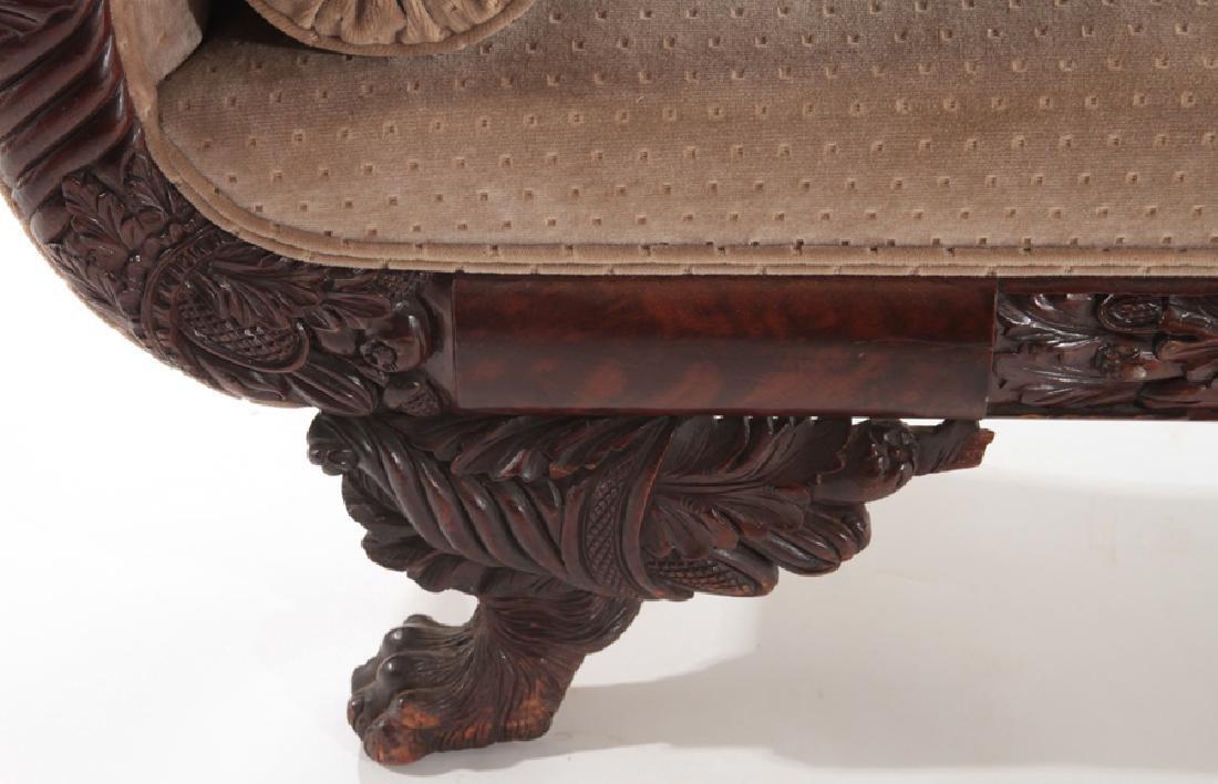 19TH CENTURY CARVED MAHOGANY SOFA ACANTHUS LEGS - 5