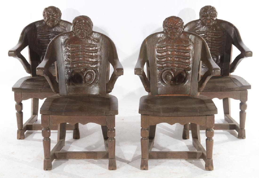 SET OF 4 FANTASY CARVED OAK CHAIRS