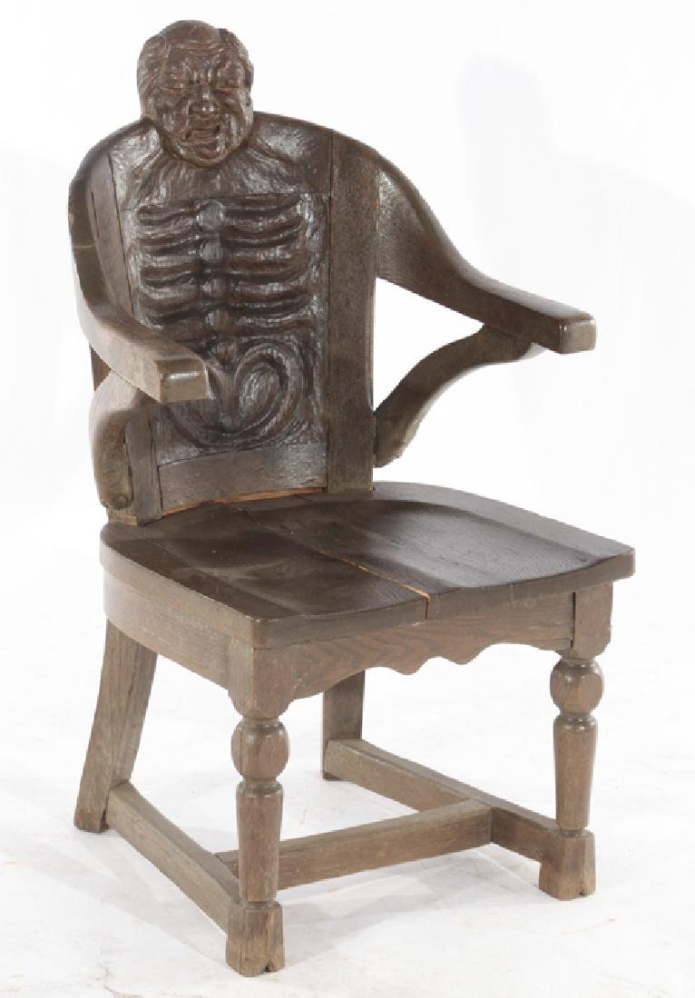 SET OF 4 FANTASY CARVED OAK CHAIRS - 2