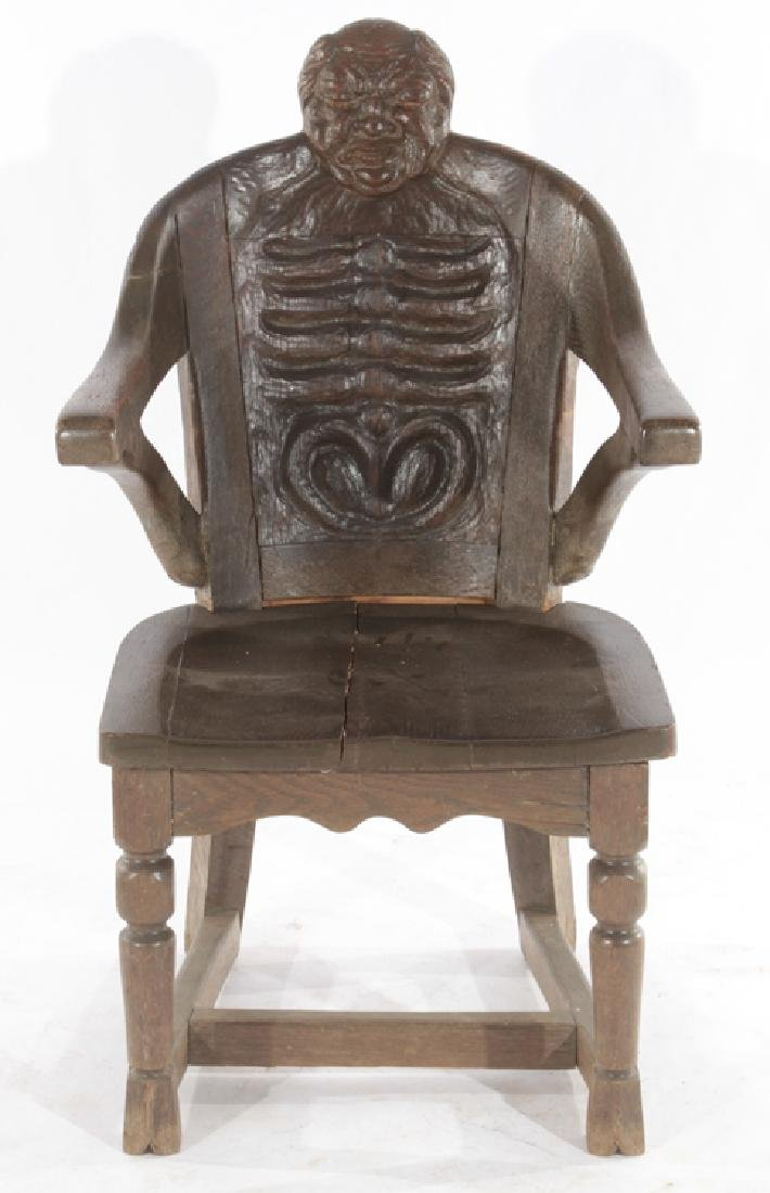 SET OF 4 FANTASY CARVED OAK CHAIRS - 3
