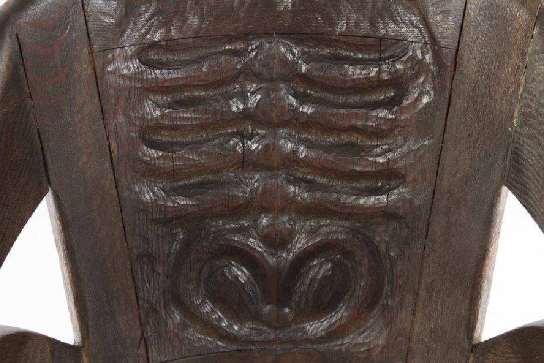 SET OF 4 FANTASY CARVED OAK CHAIRS - 5
