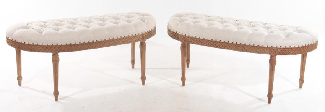 PAIR MAHOGANY BENCHES WITH TUFTED UPHOLSTERY