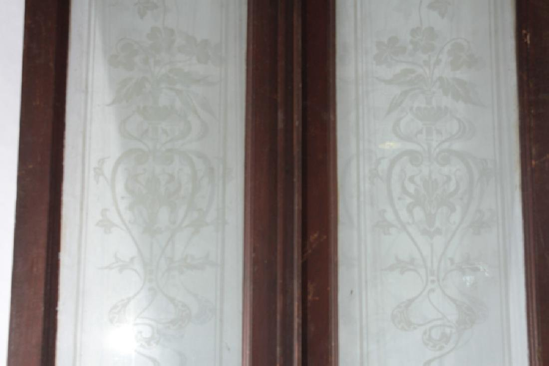 PAIR CARVED WALNUT ENTRY DOORS ETCHED GLASS 1900 - 3