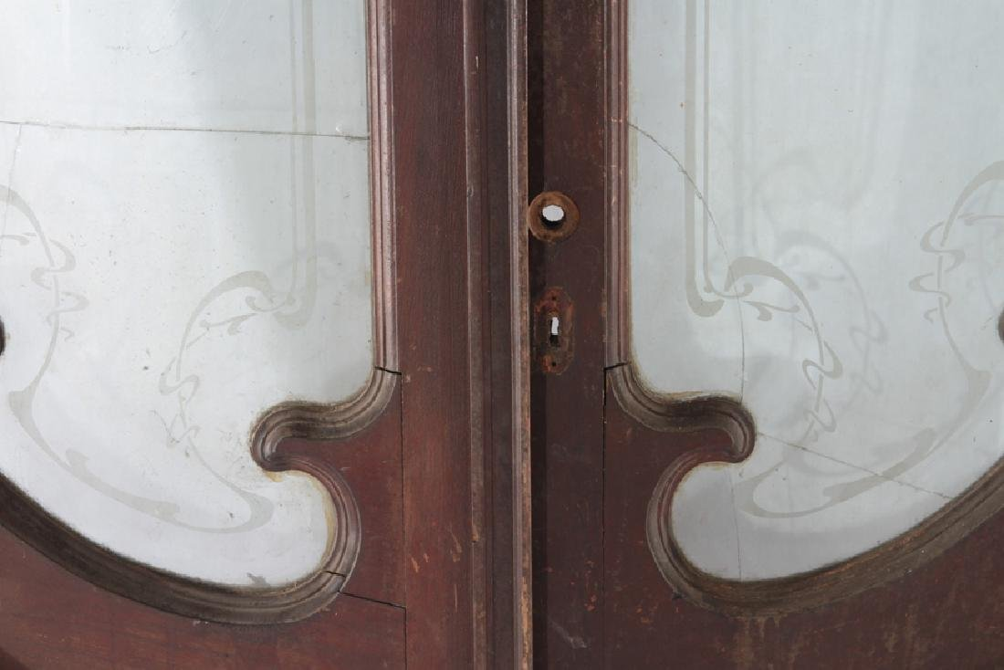 PAIR CARVED WALNUT ENTRY DOORS ETCHED GLASS 1900 - 4