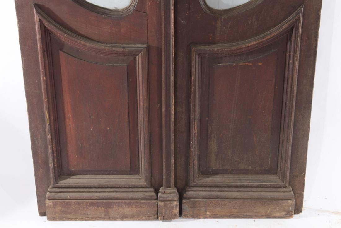 PAIR CARVED WALNUT ENTRY DOORS ETCHED GLASS 1900 - 5