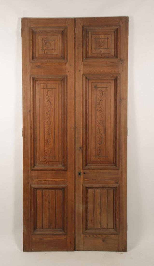 PAIR OF VICTORIAN CARVED ENTRY DOORS CIRCA 1890 - 2