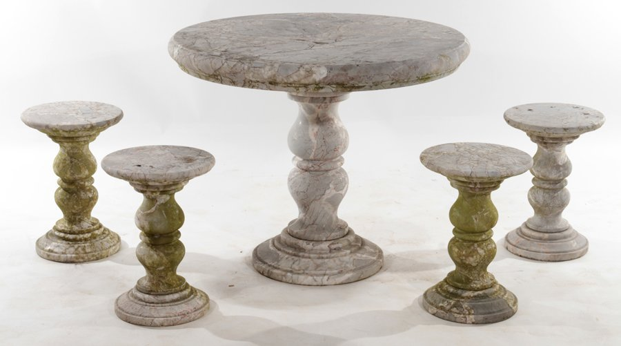 MARBLE GARDEN SET OF ROUND TABLE AND 4 STOOLS