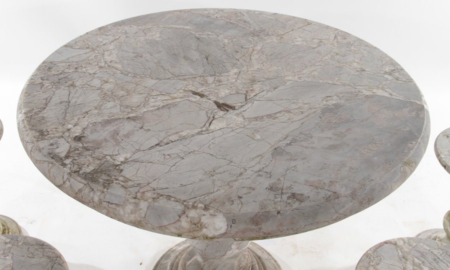 MARBLE GARDEN SET OF ROUND TABLE AND 4 STOOLS - 2