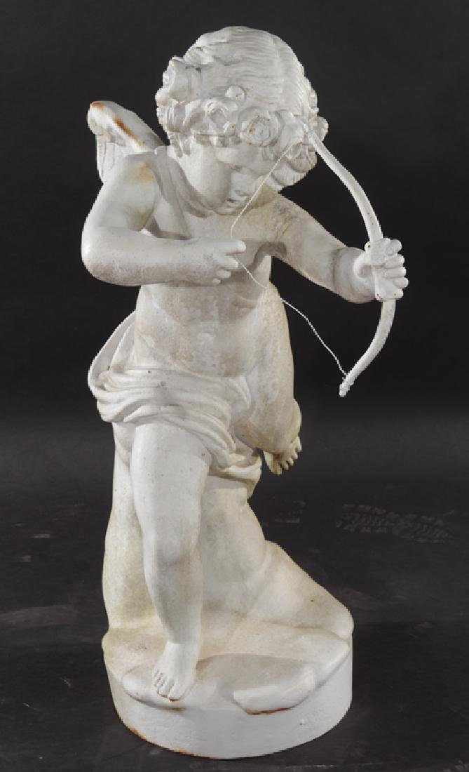 CAST IRON WINGED PUTTI GARDEN FIGURE OF CUPID