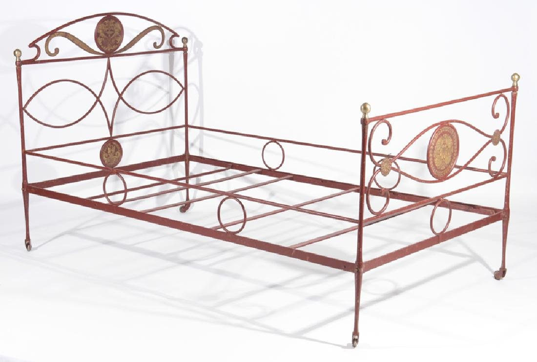 FRENCH PAINTED IRON BED BRONZE BALL FINIALS C1910