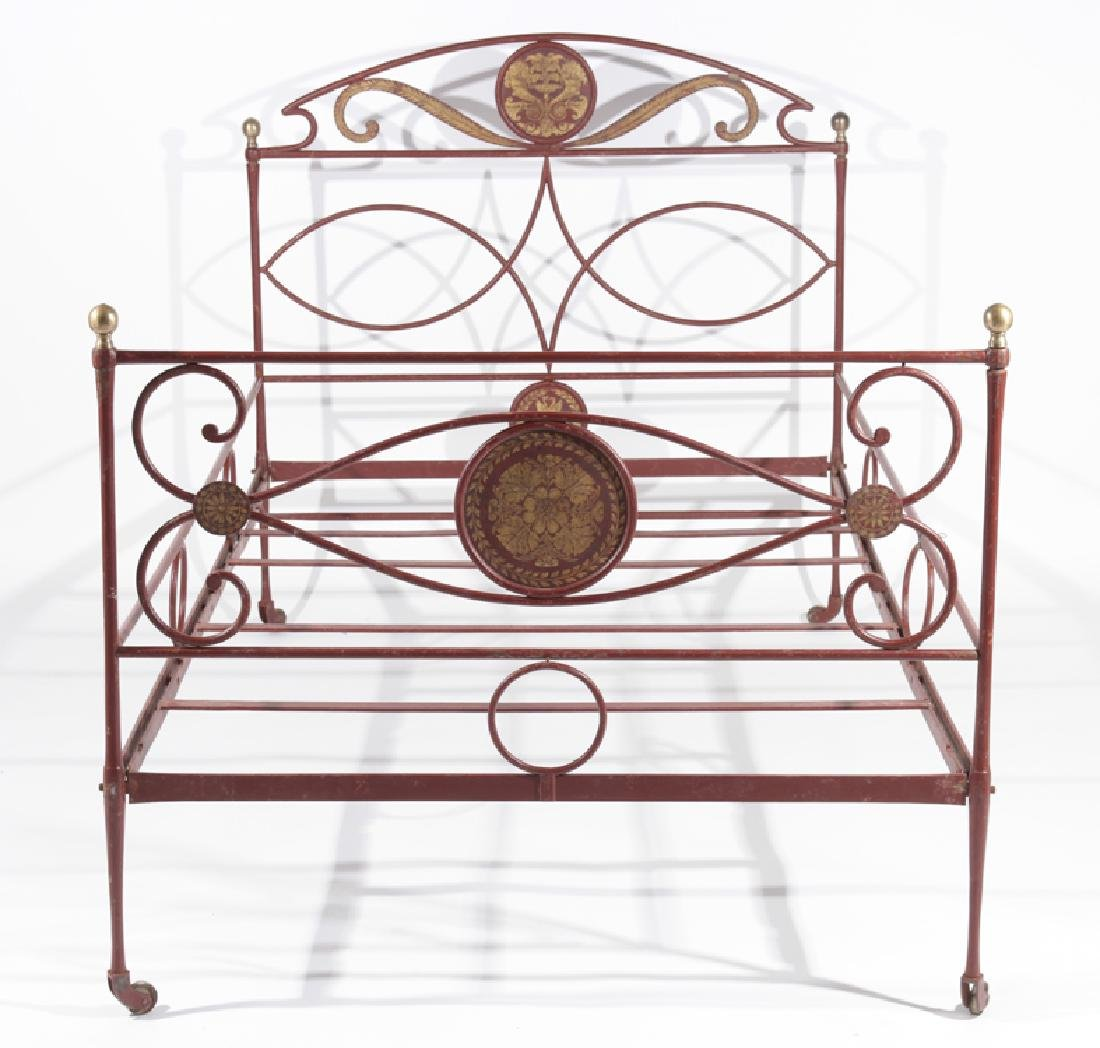 FRENCH PAINTED IRON BED BRONZE BALL FINIALS C1910 - 2