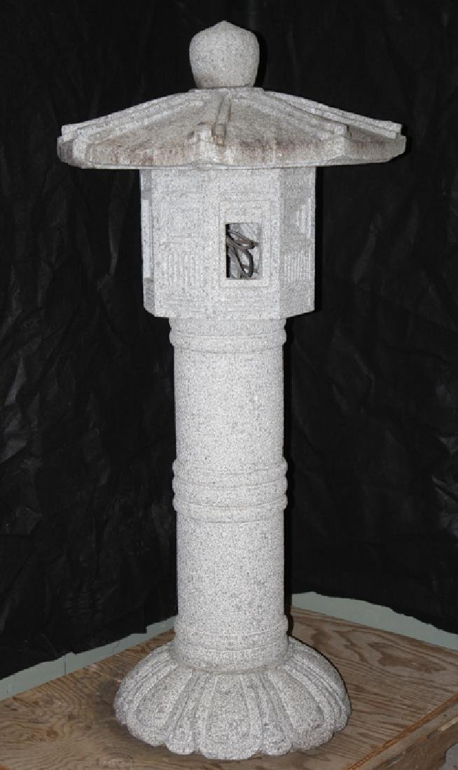 MONUMENTAL CARVED GRANITE GARDEN LANTERN