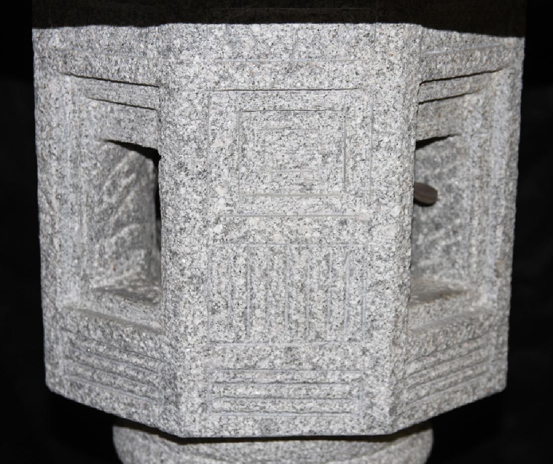 MONUMENTAL CARVED GRANITE GARDEN LANTERN - 4