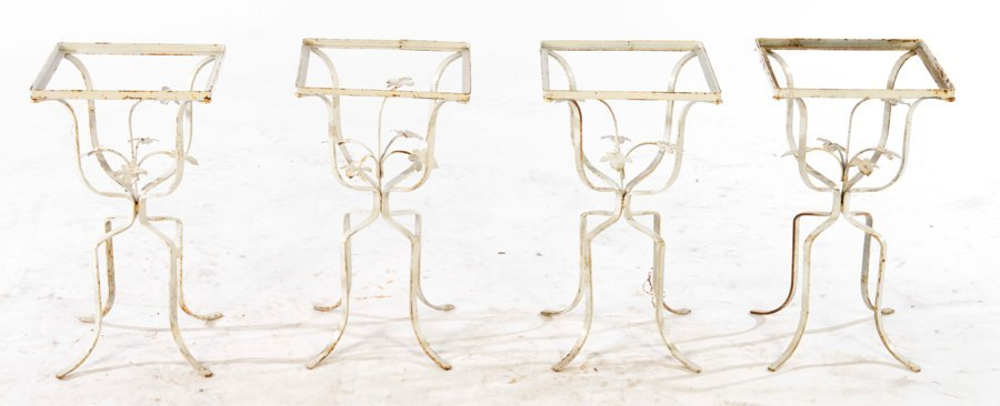 COLLECTION OF 4 WROUGHT IRON GARDEN TABLES C.1960