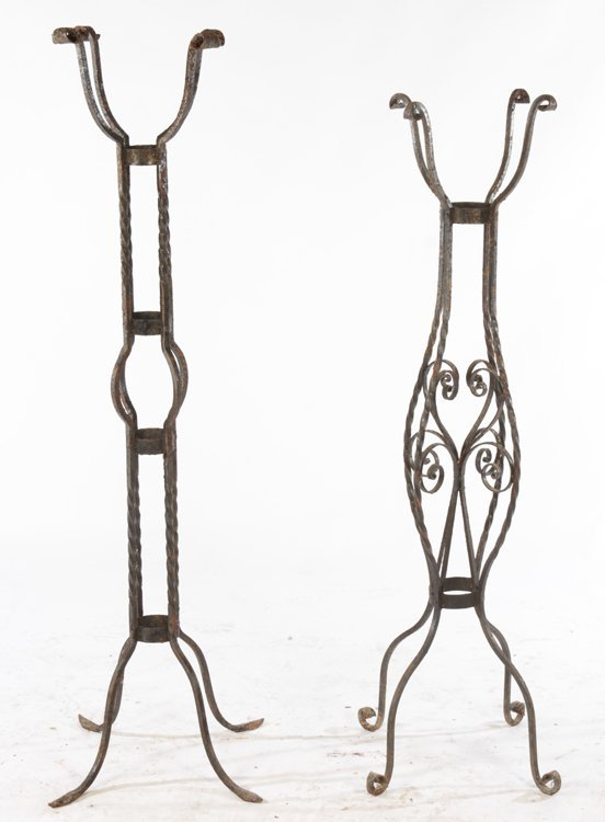 2 LARGE WROUGHT IRON PLANT STANDS CIRCA 1940