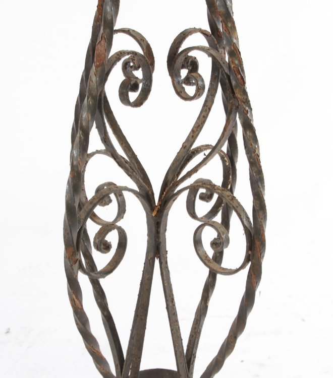 2 LARGE WROUGHT IRON PLANT STANDS CIRCA 1940 - 6