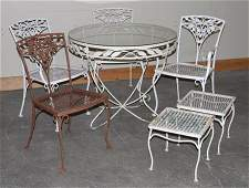 COLLECTION OF 7 WROUGHT IRON GARDEN ITEMS C.1950