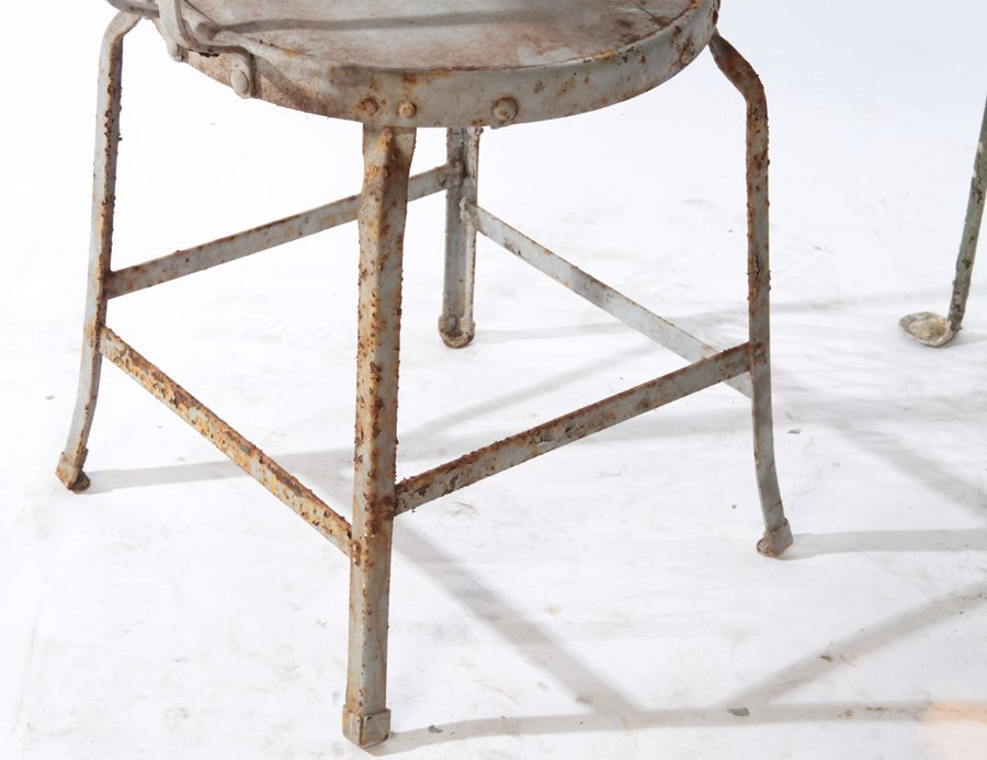 2 WROUGHT IRON BISTRO CHAIRS  STONE TOP TABLE 1920 - 3