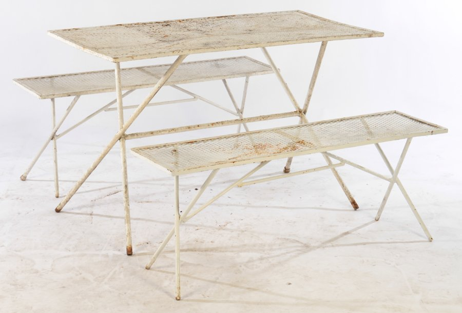 SALTERINI WROUGHT IRON TABLE AND BENCHES 1960