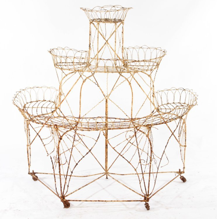 LARGE WROUGHT IRON 3 TIER PLANT STAND C.1940