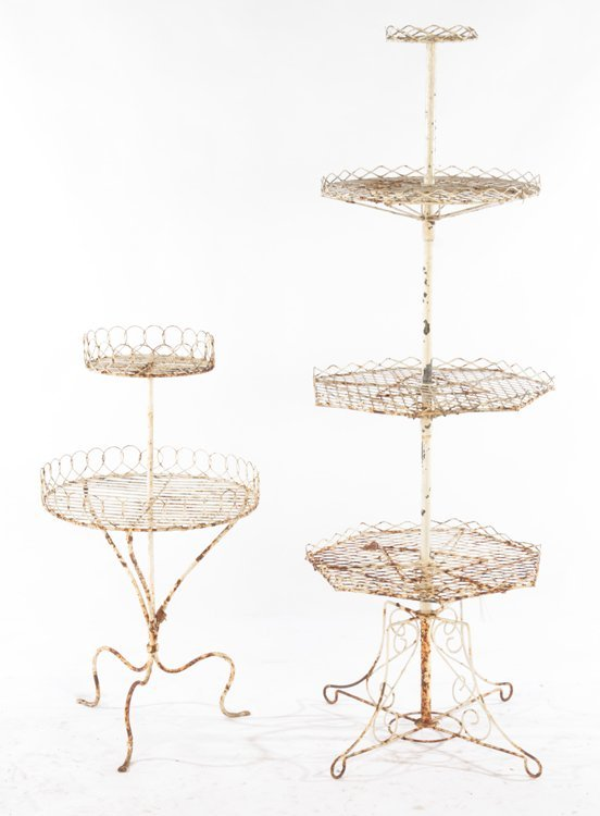 2 WROUGHT IRON PLANT STANDS CIRCA 1950