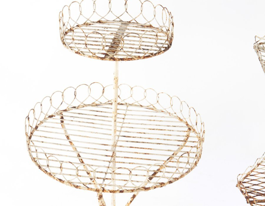 2 WROUGHT IRON PLANT STANDS CIRCA 1950 - 4