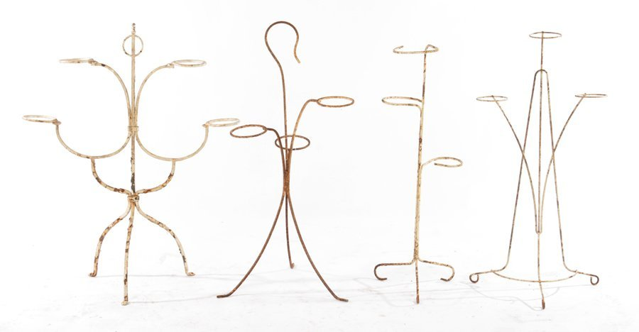 4 WROUGHT IRON PLANT STANDS OR WINE HOLDERS C.1940
