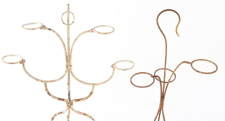4 WROUGHT IRON PLANT STANDS OR WINE HOLDERS C.1940 - 4