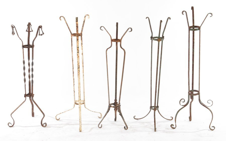 COLLECTION OF 5 WROUGHT IRON PLANT STANDS C.1940
