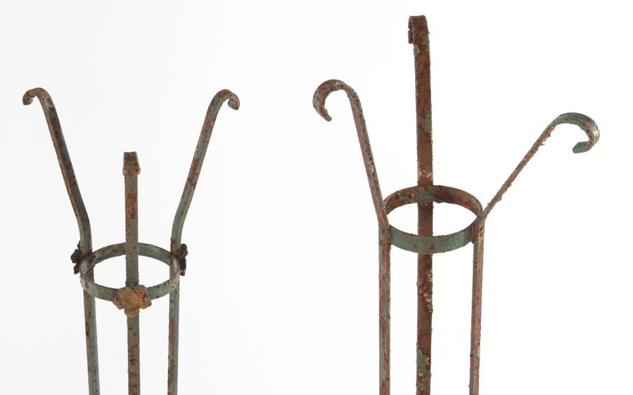 COLLECTION OF 5 WROUGHT IRON PLANT STANDS C.1940 - 2