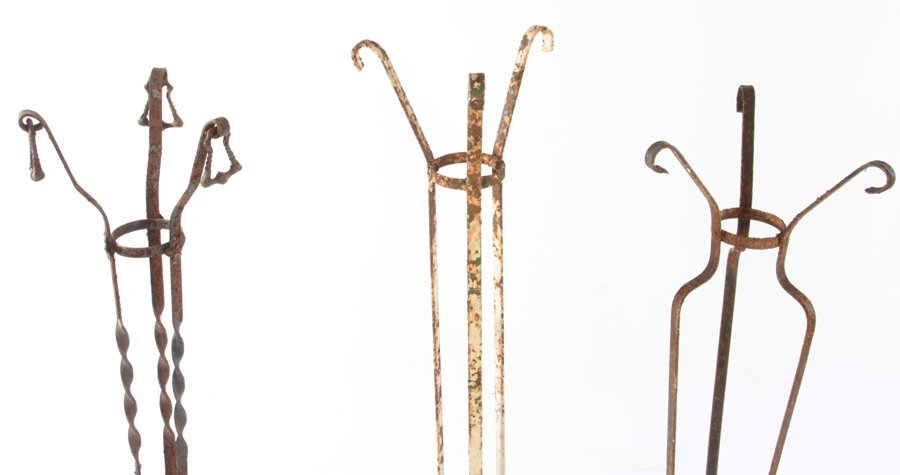 COLLECTION OF 5 WROUGHT IRON PLANT STANDS C.1940 - 4