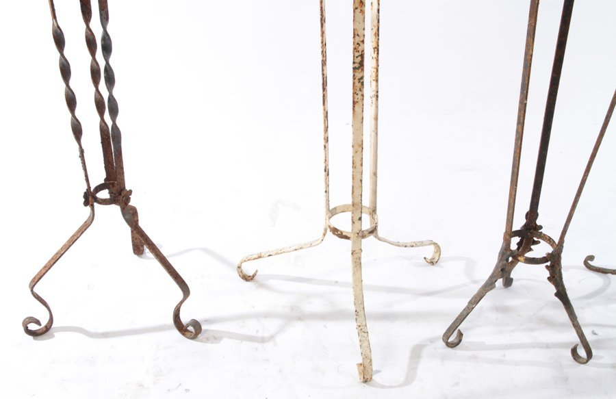 COLLECTION OF 5 WROUGHT IRON PLANT STANDS C.1940 - 5