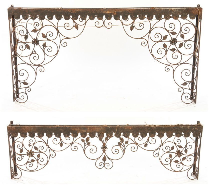 COLLECTION 4 WROUGHT IRON GARDEN ELEMENTS C.1940