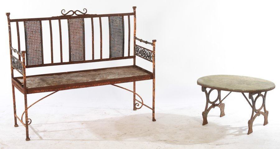 WROUGHT IRON BENCH AND STONE TOP TABLE C.1950
