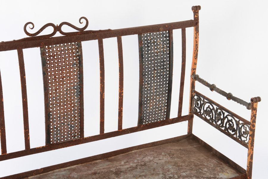 WROUGHT IRON BENCH AND STONE TOP TABLE C.1950 - 2