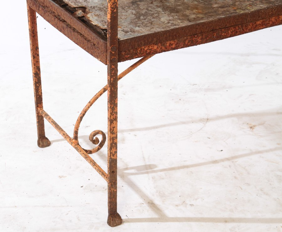 WROUGHT IRON BENCH AND STONE TOP TABLE C.1950 - 3